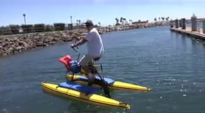 Racing on a water bike