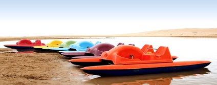 Used pedal boats on the beach